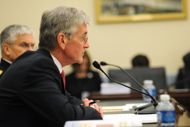 Secretary of the Army John McHugh spoke March 16 on Capitol Hill before the House Appropriations Committee Defense subcommittee regarding Army budget and posture.  The secretary was accompanied by Chief of Staff of the Army Gen. George W. Casey Jr.