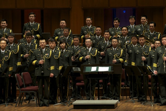 "The Military Band of the Chinese People's Liberation Army and The U.S. Army Band ""Pershing's Own"" came together for a historic concert at the John F. Kennedy Center for the Performing Arts Washington DC. This was the first of several concerts scheduled fo"