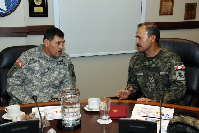 Maj. Gen. Simeon Trombitas U.S. Army South commander and Gen. Otto Napoleon Guibovich Artega discuss future interaction between the two armies at a visit by Guibovich to U.S. Army South headquarters Nov. 15-18. (Photo By:  Alex Delgado U.S. Army South Pub