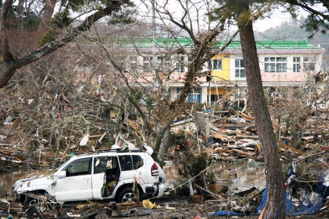 CAMP SENDAI Japan - A relatively intact vehicle sits eschew after the tsunami at the Nobiru train station in Higashi-Matsushima Japan.