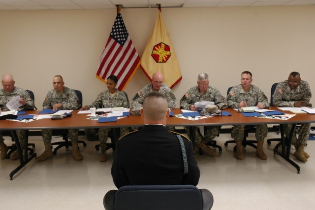 Sgt. Jordan Dane IMCOM-Northeast and Southeast NCO of the Year from USAG Ft. Benning in Georgia faces the board of sergeants major during the second day of the IMCOM Best Warrior Competition.