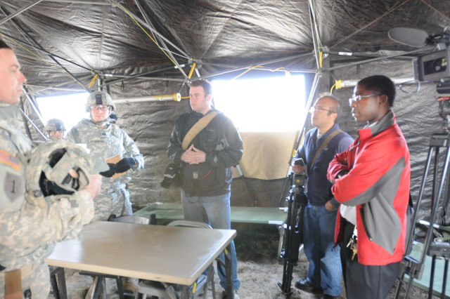Reporters from various media outlets in Washington receive information about a May 22 training event conducted by 3rd Stryker Brigade Arrowhead 2nd Infantry Division on Yakima Training Center Wash. The Arrowheads are preparing to go to the National Traini