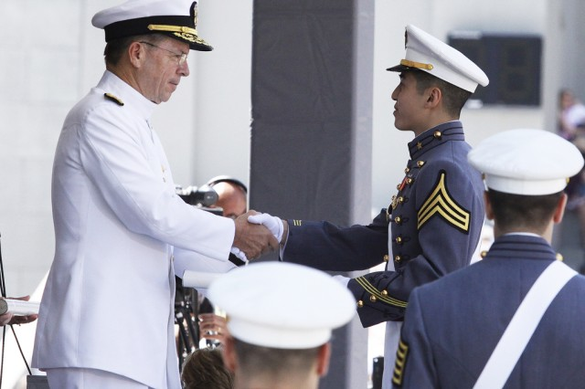 Second Lt. Woo Song Do receives his diploma from the Chairman of the Joint Chiefs of Staff Adm. Michael Mullen May 21 at Michie Stadium. The U.S. Military Academy Class of 2011 graduated 1031 including 16 combat veterans who became second lieutenants afte