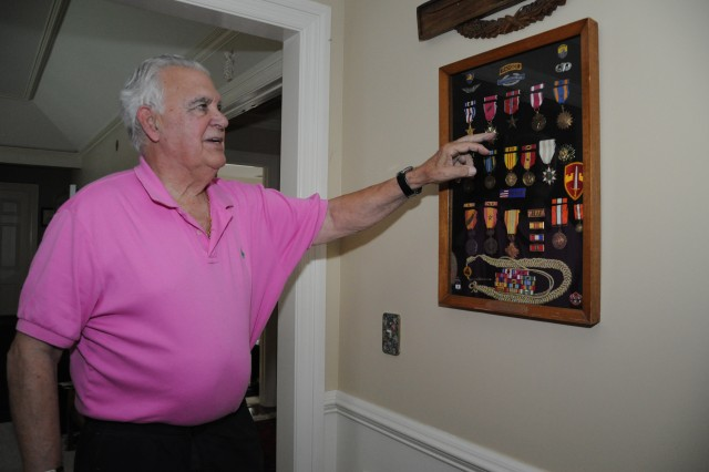 Bobby Bacon shows his military awards on display at his home in Northeast Columbia. Among his decorations are the Silver Star and the Bronze Star with two valor devices. Bacon was stationed at Fort Jackson from 1976 through 1983. He retired from the Army