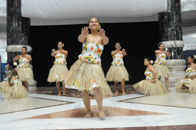 Toa O Polynesia female dancers perform the 'Tuleti' dance, a welcome dance traditionally for visitors entering into the island of Saipan. (U.S. Army photo by Sgt. Joseph Vine)