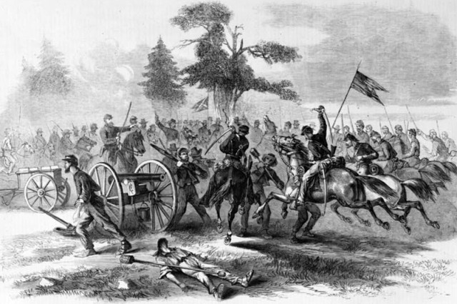 Cavalry troopers capture Confederate guns at Culpeper. Graphic Illustration by Edwin Forbes (1895)