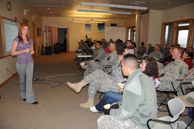 "Ashley Anderson, instructor for the Comprehensive Soldier Fitness-Performance and Resilience Enhancement Program, teaches CBWTU-Utah Soldiers and their guests about goal setting during the muster at the National Ability Center in Park City, Utah. ""(My goa"