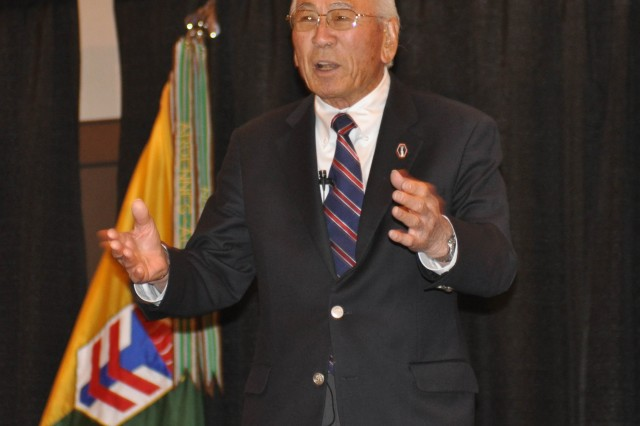 Guest speaker, Mr. Lawson Sakai, a highly decorated World War II veteran and member of the 442nd Regimental Combat Team, addresses Soldiers, civilians and Family members at the Centennial Club on East Fort Bliss May 26.  Sakai shared his story from the wa