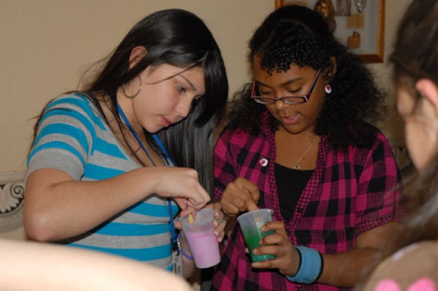 The EDGE! program, an after school and summer program for children 6 to 18, offers an array of classes, including this do-it-yourself beauty class at Fort Jackson, S.C., in which participants made their own bubble bath.