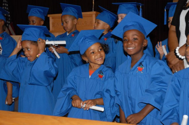 Students of Fort Jackson, S.C.'s Strong Beginnings program are all smiles after graduation.