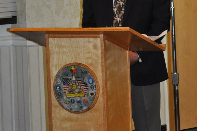 Gregory Matsumoto, whose father fought with the all-Japanese American 442nd Infantry Regiment during World War II, speaks at the Fort Irwin and National Training Center Asian Pacific American month celebration on May 31, 2011 at Fort Irwin, Calif.