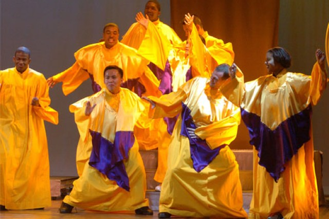 Spc. Richard Sianoya of Fort Irwin, Calif., seen here dancing in the middle of a gospel section of the 2006 U.S. Army Soldier Show, is the winner of the Family and Morale, Welfare and Recreation Command-sponsored 2007 Operation Rising Star singing contest