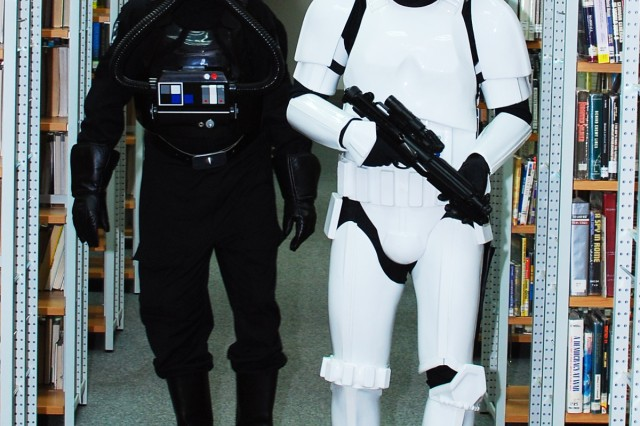 Members of the 501st Legion, German Garrison, (a fictional Star Wars military unit) dress as stormtroopers and visit the Patch Library May 21 as part of Free Comic Book Day.