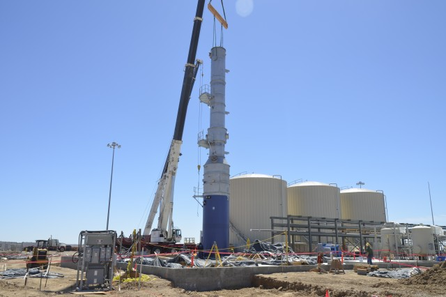 "The biotreatment evaporator was erected on April 28, 2011, which at 86'-6"" makes it the tallest structure on the site."