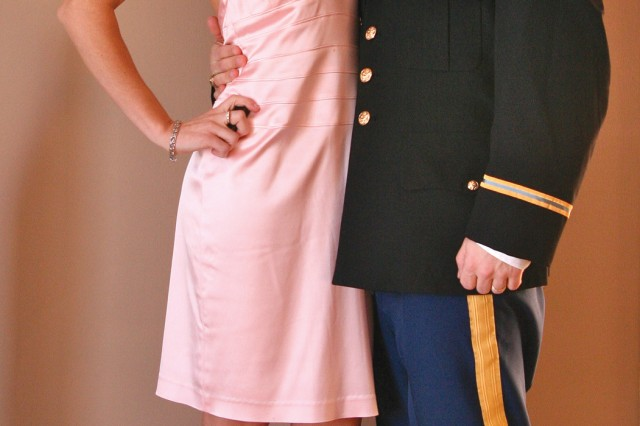 Marie and Capt. Michael Blakley pose before attending a military ball Feb. 21. Blakley competed in her first bodybuilding competition the following week in Covington, Ky.