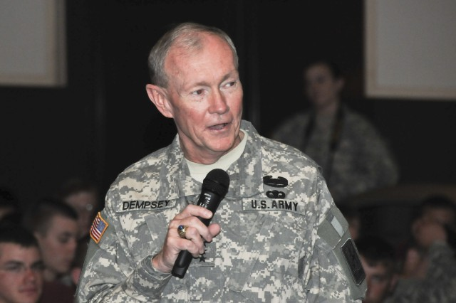 Gen. Martin E. Dempsey, Chief of Staff of the United States Army, meets with Soldiers during a town hall at the Tower Theater in Grafenwoehr, Germany, June 2, 2011.  Dempsey is touring the U.S. Army's only training facility outside the continental United