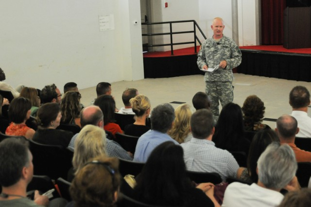 U.S. Army Research, Development and Engineering Command Chief of Staff Col. Kirk Benson addresses headquarters staff June 2 during a town hall meeting at Aberdeen Proving Ground, Md.