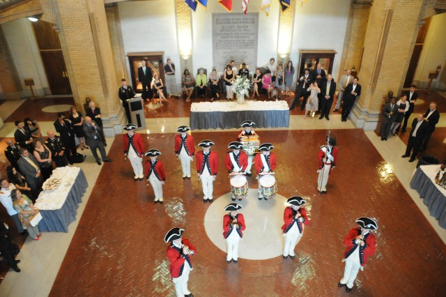 Members of the 3d US Infantry Regiment (The Old Guard) Fife and Drum Corps perform in the Rotunda of the National War College at Fort McNair, June 1, 2011.