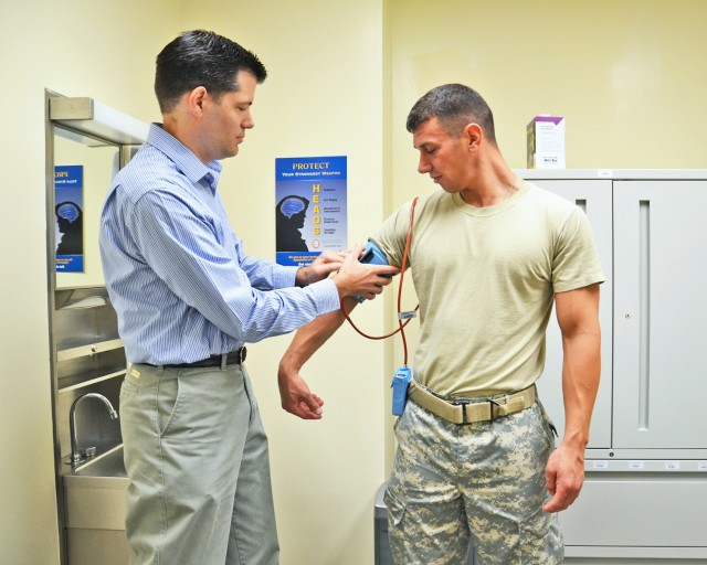 Soldier gets blood pressure checked