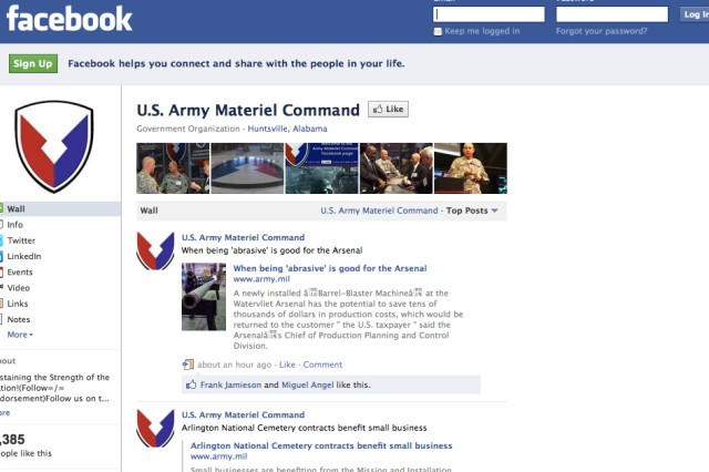 Screen capture of Army Materiel Command's Facebook page.