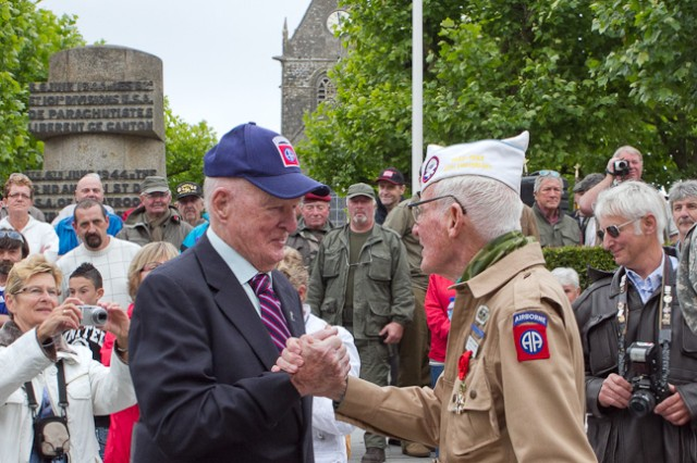 A ceremony in Ste. Mere Eglise during which and 82nd Paratrooper was presented with the French Legion of Honor. Sen. John Kerry was present for to congratulate the honoree.
