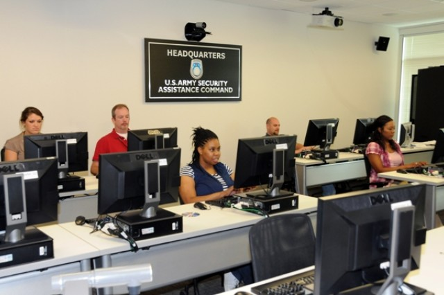 U.S. Army Security Assistance Command employees are shown in the training room – a dedicated space for workforce development in the new USASAC headquarters building.