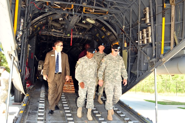 – During his June 2 visit to the Combined Arms Support Command, Gen. Robert W. Cone, Training and Doctrine Command commanding general, toured the Transportation School's multimodal training site where students become familiar with how to load and unload cargo for movement.
