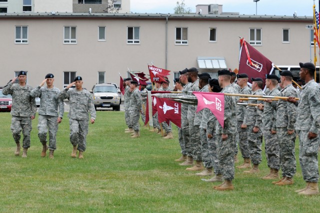 The incoming commander, Col. John M. Cho, the commander of troops, Lt. Col. Terry Moren, and the outgoing commander, Col. Daniel P. Orrico, inspect the troops during the 30th Medical Command Change of Command Ceremony June 9 on the Nachricten Kaserne Parade Field.