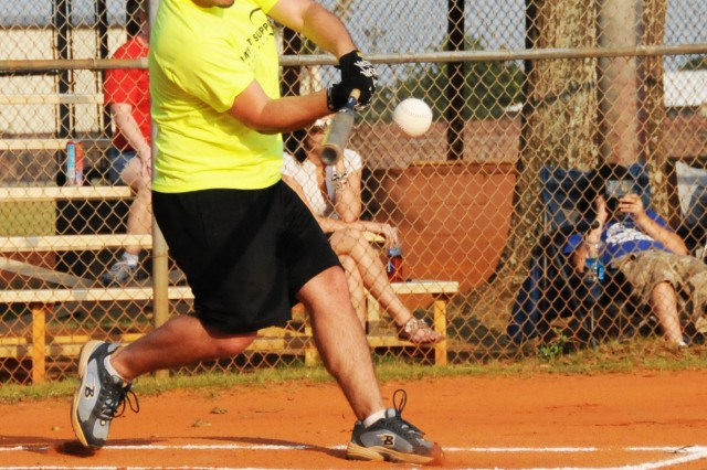 Ivan San Inocencio, AFS Lowe Field outfielder, hits an infield home run in his first at-bat during the team's game against the Spartans of 1st Bn., 223rd. Avn. Regt. June 6. AFS won, 17-13, in Fort Rucker intramural softball action.