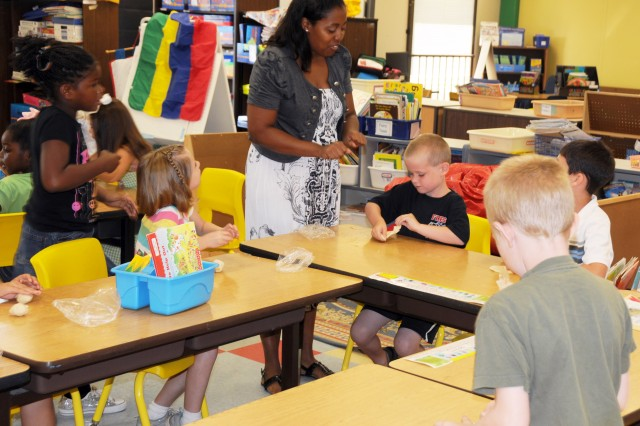 Kim Smith's first grade class at Fort Rucker Primary School gets creative with homemade play-dough on the last day of class.