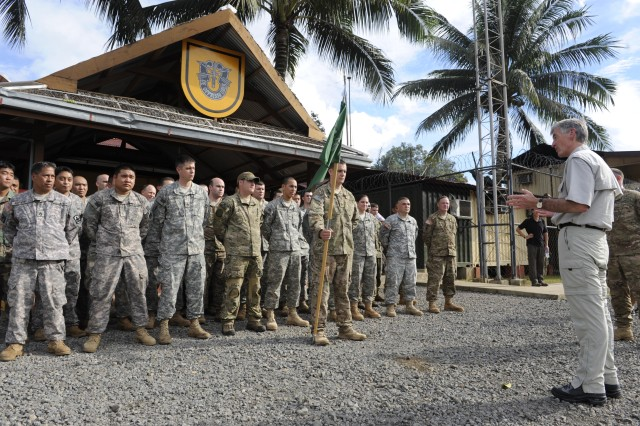 Secretary of the Army John McHugh thanks U.S. Army Special Operations Forces for their service during a visit to one of JSOTF-P's outstations on the island of Sulu, Philippines.