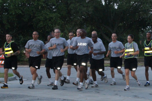 SSG Samantha Goscinski, Fort Jackson, S.C., leads a group of Soldiers Monday, June 13 during a training drill task for the 2011 Drill Sergeant of the Year competition held this week on Fort Jackson.