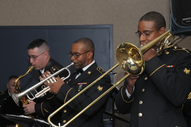 Members of the 10th mountain Division Band provide music during Fort Drum's inaugural Army Birthday Ball June 10.
