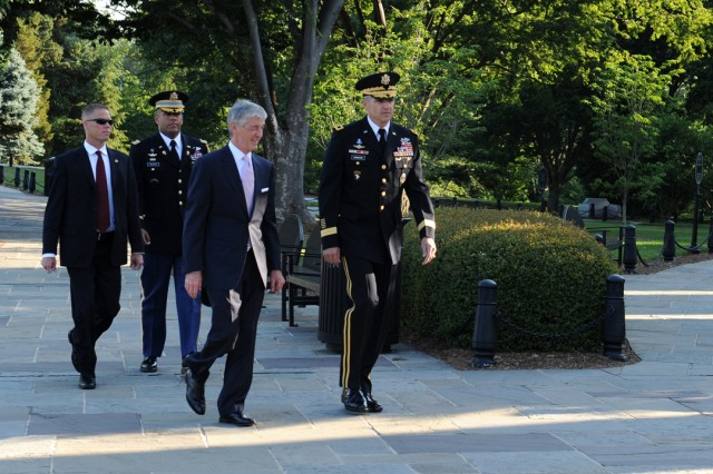 "The Secretary of the United States Army John McHugh is escorted by Maj. Gen. Michael S. Linnington, commander of the U.S. Army Military District of Washington, 3rd US Infantry Regiment, ""The Old Guard,"" Joint Force Headquarters-National Capital Region to the Army Birthday Wreath Laying Ceremony, June 14, 2011, at the Tomb of the Unknowns, at Arlington National Cemetery, Va."