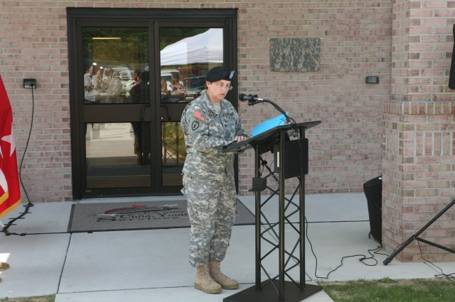 COL Provancha welcomes crowd at the dedication