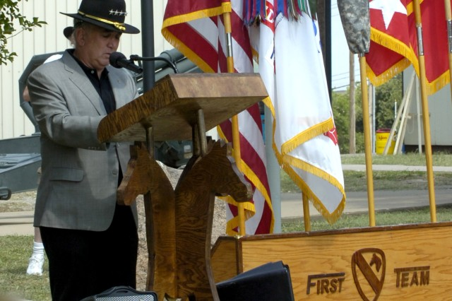 FORT HOOD, Texas - Retired Gen. John H. Tilelli, former commander of 1st Cavalry Division during the Gulf War, speaks to attendees at a Gulf War memorial ceremony held at the 1st Cavalry Division Museum here June 10.