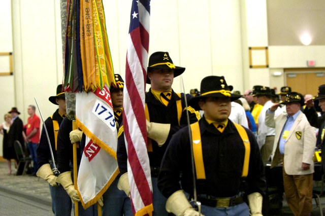 KILLEEN, Texas – Members of the 1st Cavalry Division Honor Guard retire the colors after a reunion banquet at the Killeen Civic and Conference Center here June 11.