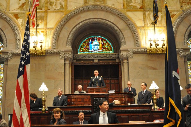 Arsenal Commander Col. Mark Migaleddi addressing the New York Senate while it was in session to promote and celebrate the Army's Birthday.