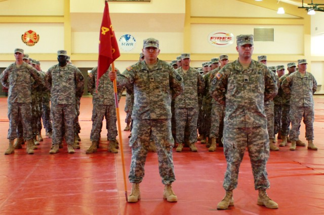 Capt. Robert E. Barnett, Commanding Officer of B Battery, 2nd Battalion, 4th Field Artillery stands with his troops during a deployment ceremony for the unit, June 2, at Fort Sill's Rinehart Fitness Center.