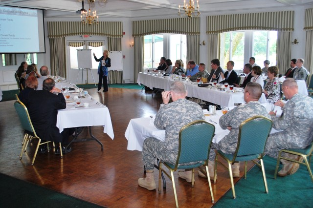 Sandra Schneider, Army Sustainment Command human resources director, leads a discussion during a Rock Island Arsenal strategic planning luncheon June 10.(Photo by Tony Lopez, ASC Public Affairs)
