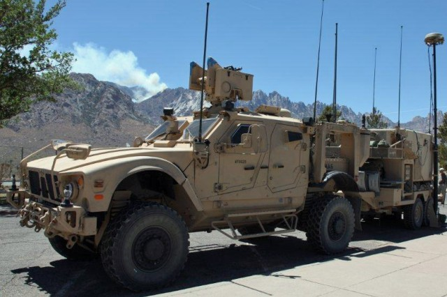 A Network Integration Evaluation at the White Sands Missile Range, N.M., hopes to show that company commanders can communicate via the network from moving vehicles such as this at any time or any place.