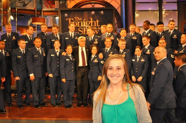 Alexis Slocum is pictured at The Tonight Show taping with Fort Irwin Soldiers in Los Angeles for Veterans Day 2010 in Los Angeles.