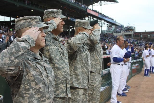 Lt. Col. Joseph Edstrom; Lt. Col. Patrick Seiber; Maj. Gen. John Campbell; Sgt. 1st Class Ryan Ahern. Photo Credit: Chicago Cubs