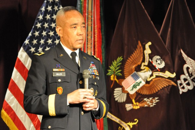 Maj. Gen. Lloyd Miles, I Corps deputy commander, speaks at the June 3 graduation ceremony for Madigan Healthcare System's Graduate Medical Education.