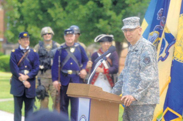 Lt. Gen. Rhett Hernandez, Commander, U.S. Cyber Command, addresses the audience at Fort Belvoir's 236th Army Birthday Celebration Tuesday in front of Abbott Hall, Fort Belvoir Garrison Headquarters.