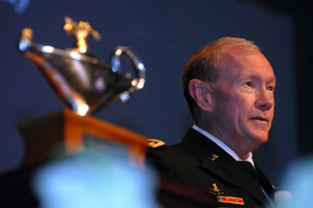 Gen. Martin Dempsey, Army chief of staff, delivers the graduation address for the Command and General Staff College's Intermediate Level Education 2011-01 class June 10 at the Lewis and Clark Center, Fort Leavenworth, Kan.