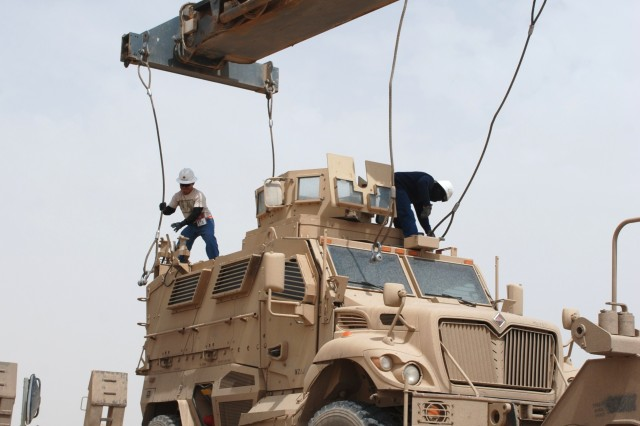 An MRAP is processed at the 2nd Battalion, 40nd Army Field Support Brigade, RPAT Yard at Joint Base Balad, Iraq.