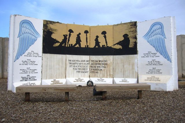 An Engineer memorial with a poem for fallen comrades located at West Liberty.