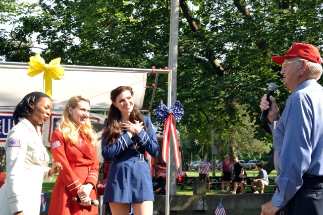 A World War II Veteran takes a moment to sing to the USO Liberty Bells during the Menands Military Appreciation Picnic on June 18.  The Watervliet Arsenal participated in this annual event.