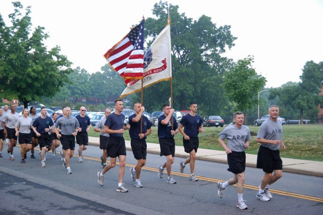 The Army Birthday Run, led by Director of the Army Staff Lt. Gen. William J. Troy, and Sgt. Maj. of the Army Raymond F. Chandler III, started at 7 a.m., June 17, 2011, at Joint Base Myer-Henderson Hall, Va.